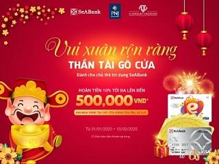 Chủ thẻ tín dụng SeABank mua vàng được hoàn tiền tối đa 500 nghìn đồng