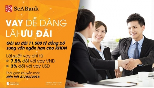 SeABank cho vay lãi suất 7,5%/năm trong 3 tháng đầu