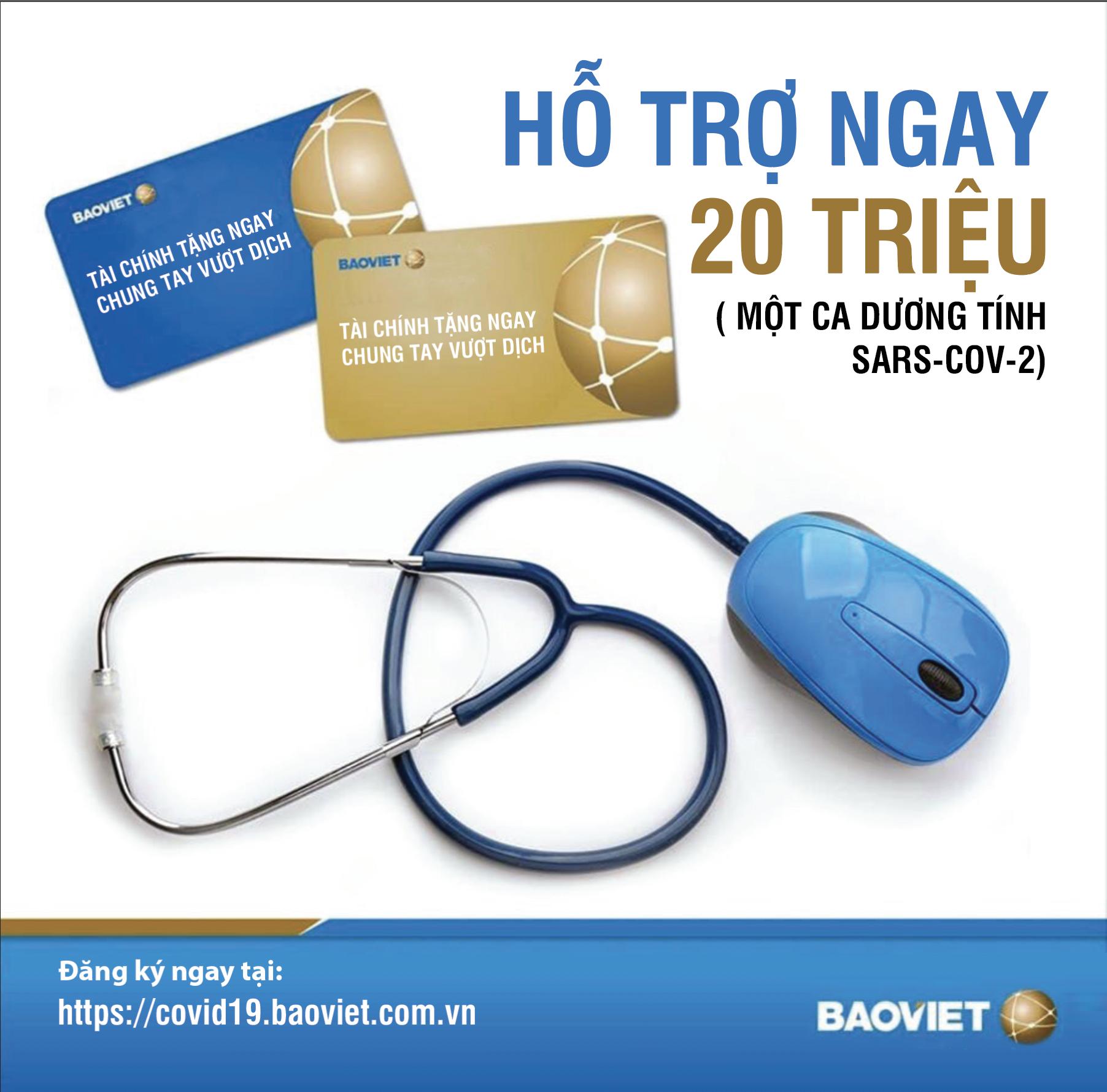 Bảo Việt hỗ trợ ngay 20 triệu đồng/ ca nhiễm vi rút SARS-CoV-2