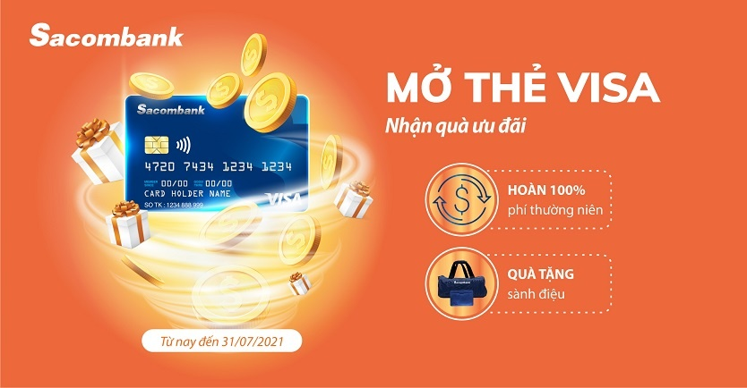 mo the visa nhan qua uu dai voi sacombank