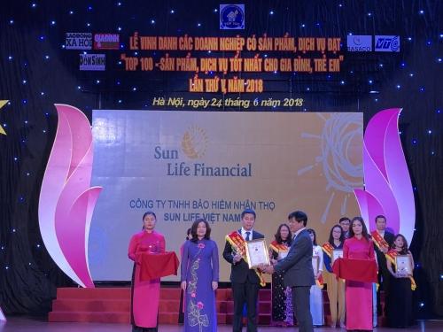 Sun Life Việt Nam đạt top 100 dịch vụ tốt nhất cho gia đình, trẻ em