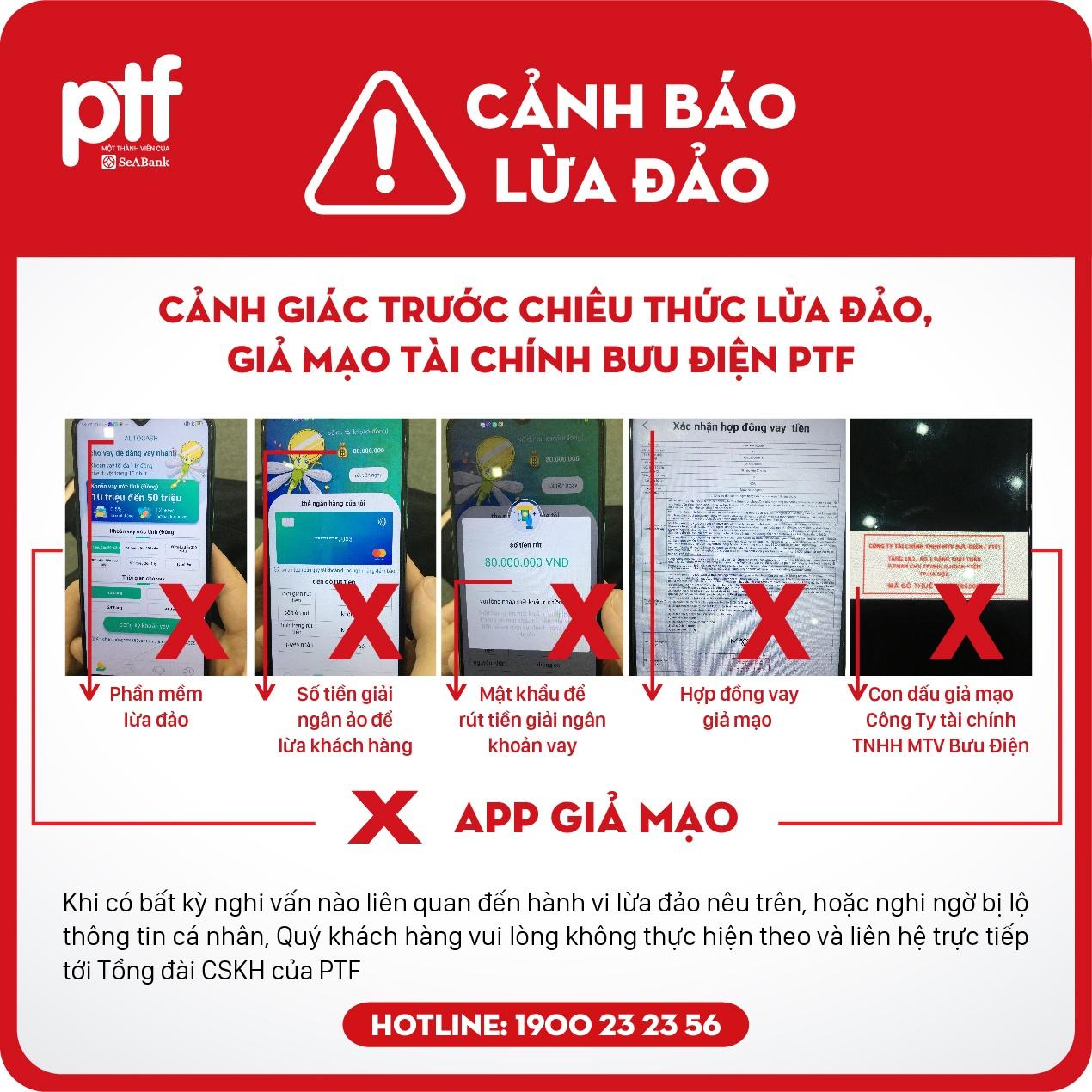 canh bao hinh thuc lua dao mao danh cong ty tai chinh buu dien ptf