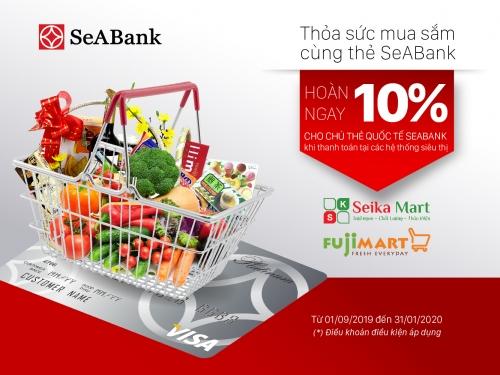 SeABank hoàn tiền tới 10% cho chủ thẻ mua hàng tại siêu thị