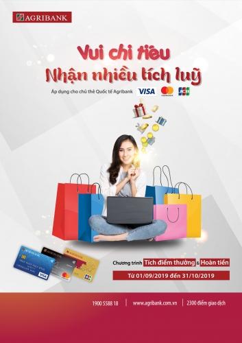 Vui chi tiêu nhận nhiều điểm thưởng cùng thẻ quốc tế Agribank