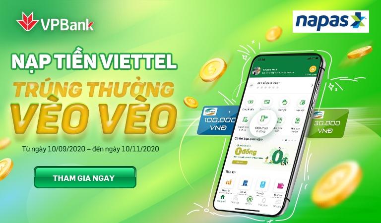 vpbank va napas tang tien hoan tien cho khach hang nap tien dien thoai mang viettel