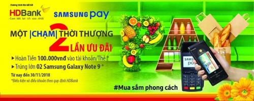 Chạm Samsung Pay nhận ngay Galaxy Note 9 với thẻ HDBank
