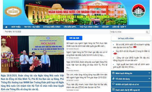 Nâng cấp và đưa vào hoạt động Trang thông tin điện tử NHNN Chi nhánh tỉnh Hà Tĩnh