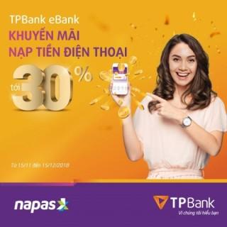 Chiết khẩu nạp tiền lên tới 50% với TPBank