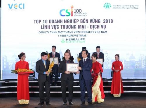 Herbalife vào Top 10 doanh nghiệp bền vững lĩnh vực dịch vụ thương mại