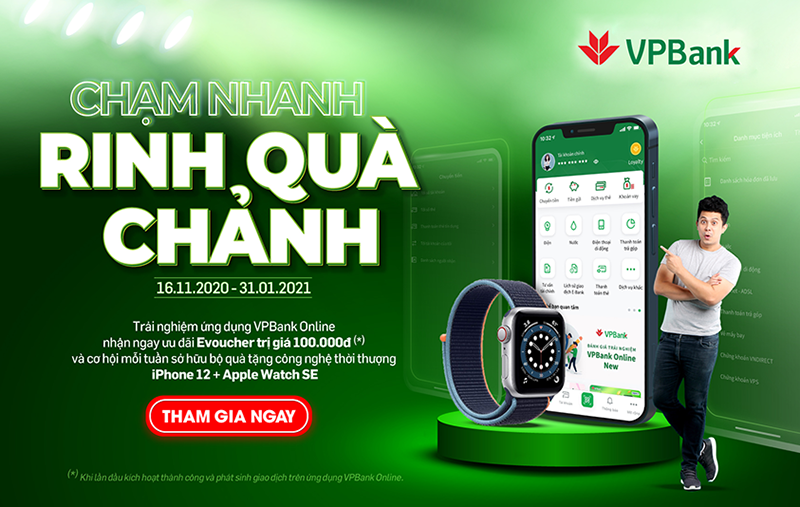 nhan iphone 12 va dong ho apple mien phi khi giao dich tren vpbank online