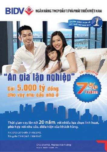 BIDV dành 5.000 tỷ đồng cho vay mua nhà ở với lãi suất chỉ từ 7%