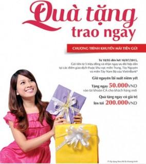 Gửi tiền tại VietinBank nhận quà tặng trao ngay