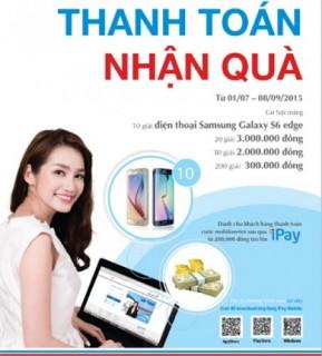 Thanh toán trên VietinBank iPay, nhận Samsung Galaxy S6 edge