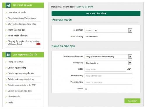 Vietcombank triển khai thêm nhiều dịch vụ thanh toán tiện ích