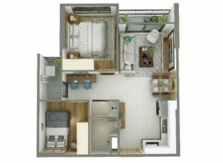 Thiết kế thông minh, căn hộ 55m2 vẫn ở thoải mái