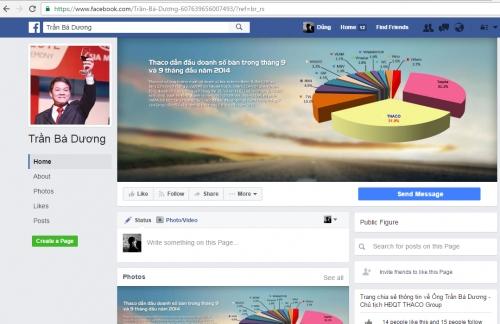 Chủ tịch Công ty ô tô Trường Hải bị mạo danh trên Facebook