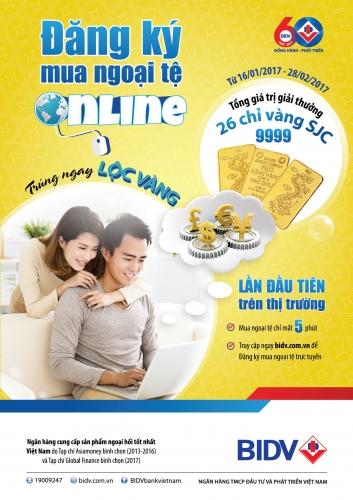 BIDV cung cấp dịch vụ đăng ký mua ngoại tệ trực tuyến