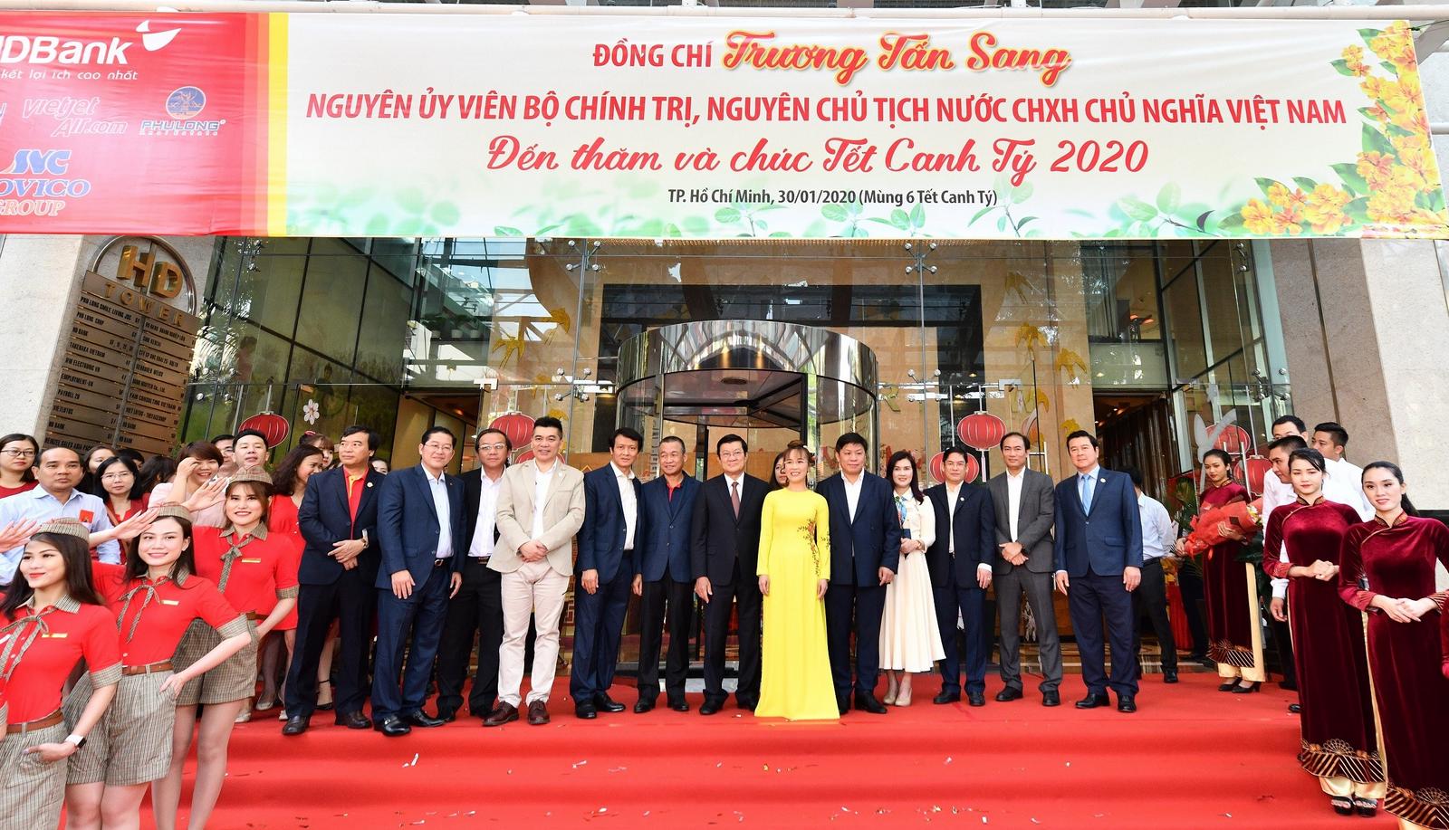 Nguyên Chủ tịch nước Trương Tấn Sang thăm, chúc tết HDBank, Vietjet