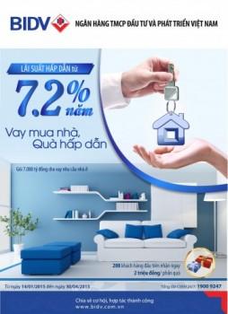 Vay mua nhà chỉ với 7,2%/năm tại BIDV