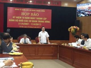 Hướng tới Kỷ niệm 10 năm Ngày thành lập Đảng bộ Khối các Cơ quan Trung ương