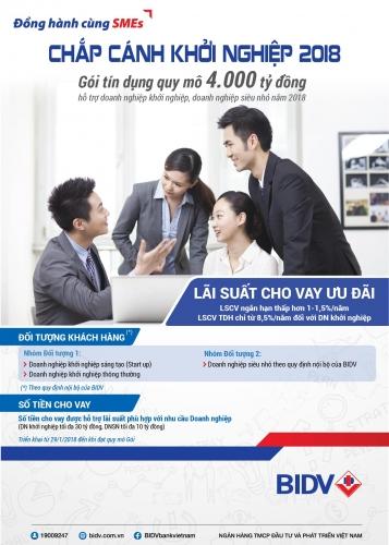 BIDV dành 4.000 tỷ đồng ưu đãi nguồn vốn cho DN khởi nghiệp