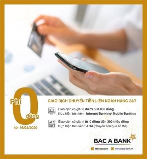 Miễn phí chuyển tiền 24/7, BAC A BANK chung tay ngăn ngừa Covid-19