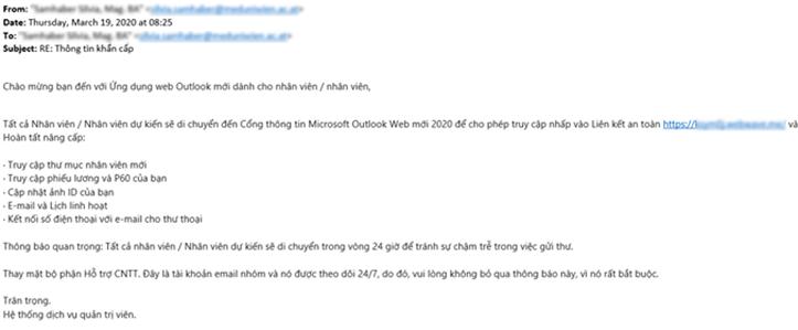 Nhân viên văn phòng bị lừa bằng email chứa mã độc