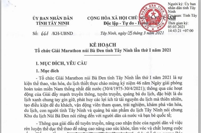tay ninh to chuc giai marathon nui ba den lan thu i nam 2021