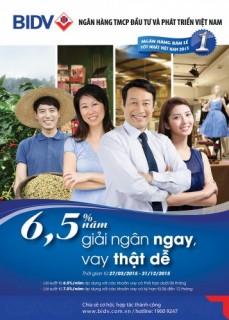Giải ngân ngay - Vay thật dễ chỉ từ 6,5%/năm tại BIDV