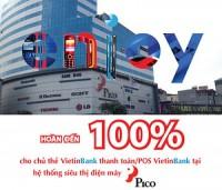Hoàn đến 100% giá trị giao dịch cho chủ thẻ VietinBank tại Pico