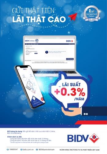 Thêm lãi suất 0,3%/năm khi gửi tiết kiệm trực tuyến tại BIDV