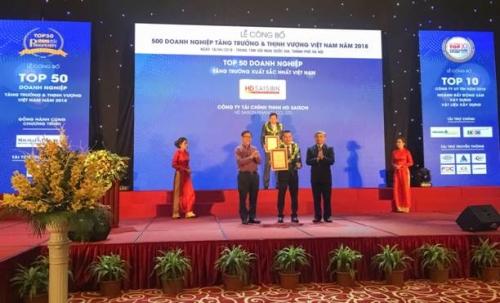 HD SAISON lọt Top DN phát triển nhanh nhất Việt Nam