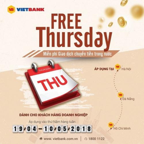 Free Thursday – miễn phí giao dịch chuyển tiền trong nước tại VietBank