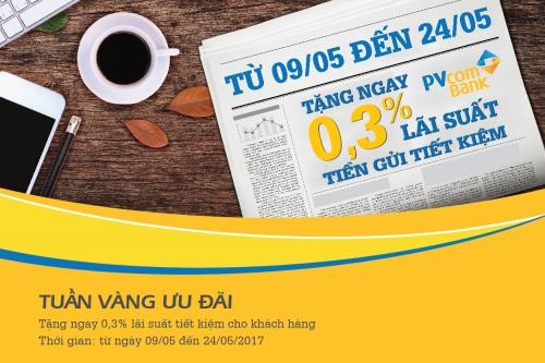 PVcomBank tặng 0,3% lãi suất cho KH trong tuần vàng ưu đãi