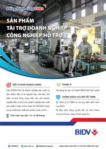 BIDV ưu đãi cho các DN công nghiệp hỗ trợ