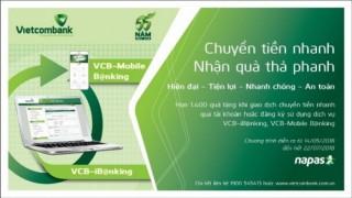 Vietcombank dành nhiều ưu đãi cho KH chuyển tiền nhanh qua tài khoản