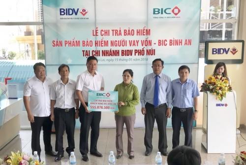 BIC trao hơn 555 triệu đồng tiền bảo hiểm người vay vốn cho KH tại Gia Lai