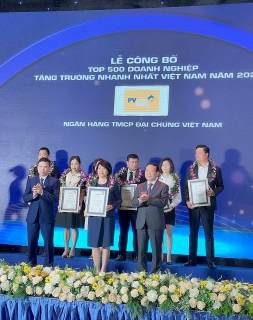 PVcomBank trong Top 500 doanh nghiệp tăng trưởng nhanh nhất Việt Nam
