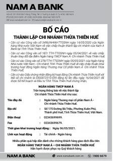 Bố cáo thành lập NamABank chi nhánh Thừa Thiên Huế