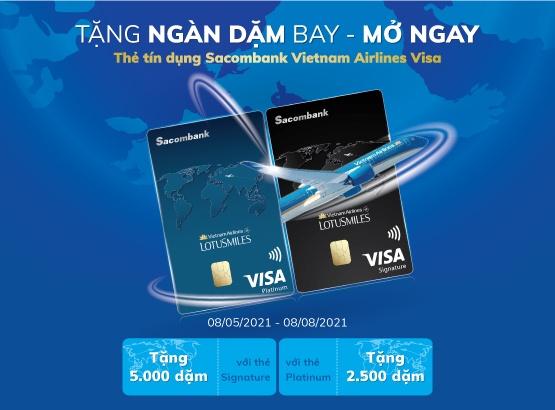 tang ngan dam bay cho khach hang mo the tin dung sacombank vietnam airlines visa