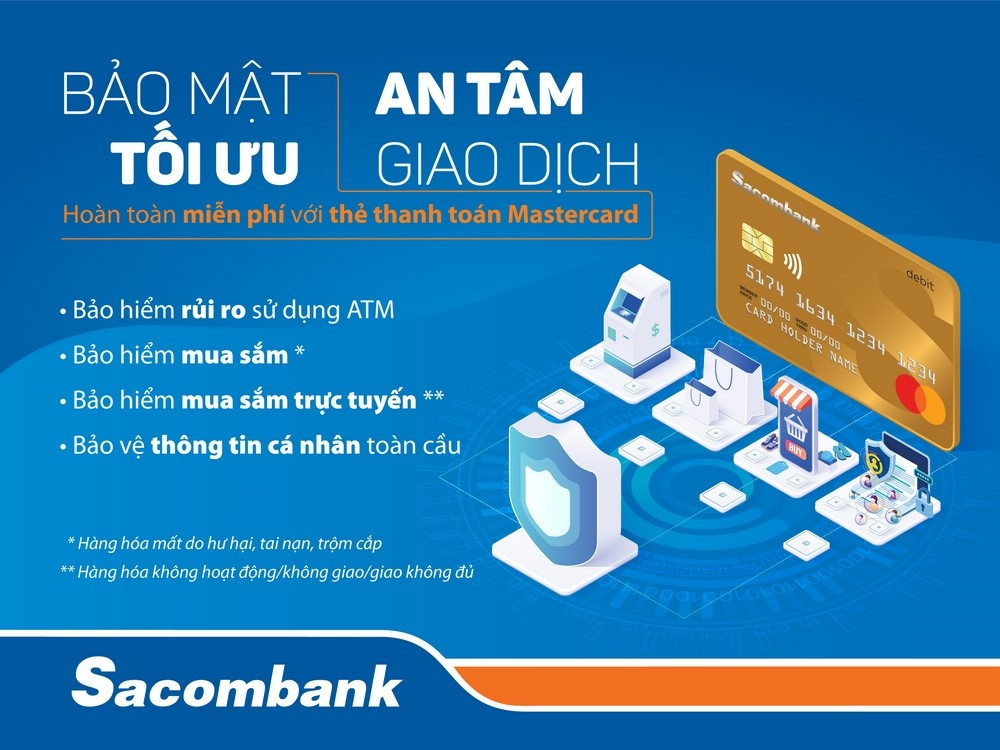 the sacombank mastercard ra mat tinh nang bao hiem moi