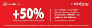 Khuyến mại 50% giá trị thẻ nạp MobiFone qua SeABank