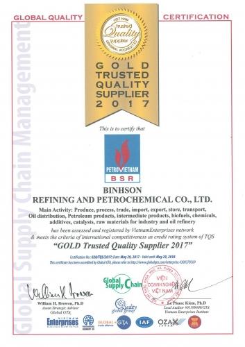 """Lọc hóa dầu Bình Sơn đạt chứng nhận """"Nhà cung cấp Chất lượng Vàng"""""""