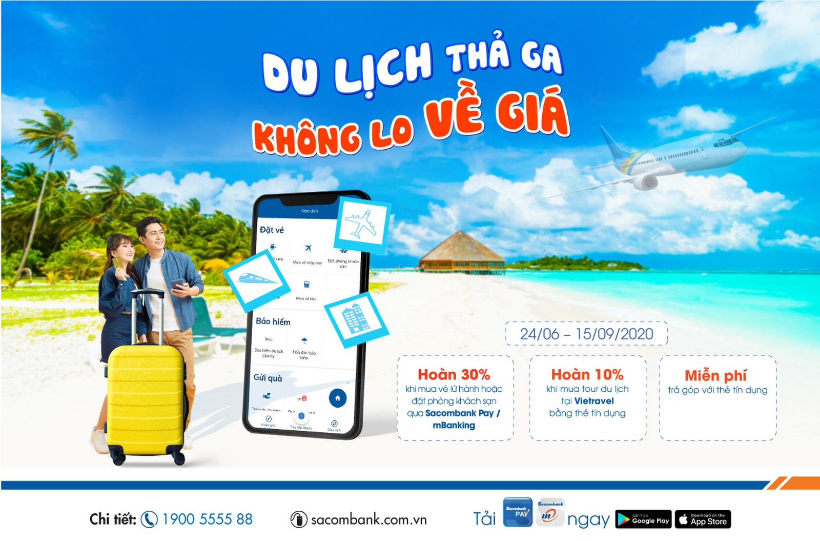 Chủ thẻ tín dụng quốc tế Sacombank được hưởng nhiều ưu đãi  khi đi du lịch