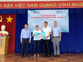 BIC chi trả hơn 2 tỷ đồng tiền bảo hiểmcho khách hàng vay vốn tại Quảng Nam