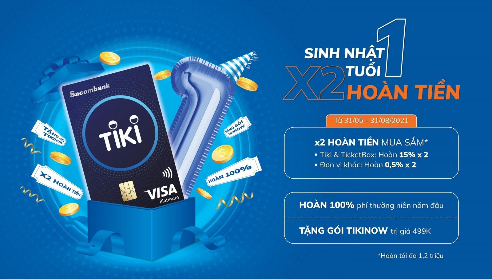 hoan phi thuong nien va tang tien cho khach hang mo the sacombank tiki