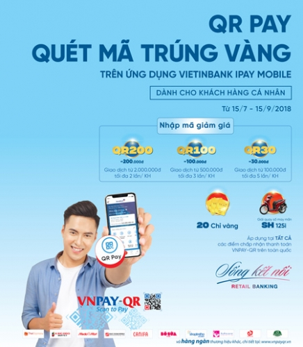 Cơ hội trúng xe SH khi quét QRPay trên VietinBank iPay Mobile