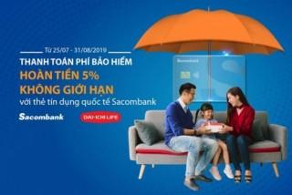 Khách hàng Sacombank được hoàn 5% phí bảo hiểm