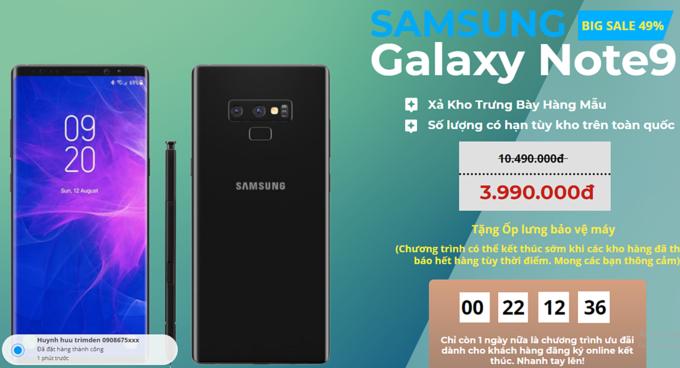 Chiêu lừa 'Galaxy Note9 xả kho giá rẻ'