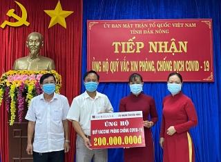 Agribank Đăk Nông ủng hộ 200 triệu đồng cho Quỹ vaccine phòng COVID-19